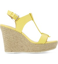 Dune Kelby Espadrille Wedge Sandals Yellow Leather