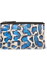 Mcq By Alexander Mcqueen Leather Trimmed Elaphe Clutch Blue