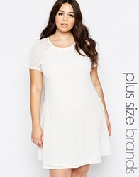 Praslin Plus Swing Dress In Polka Dot Fabric Cream