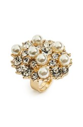 Natasha Couture Women's Crystal And Faux Pearl Statement Ring