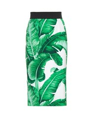 Dolce And Gabbana Banana Leaf Print Pencil Skirt Green Multi