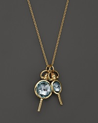 Monica Rich Kosann 18K Yellow Gold Mini Round And Oval Pockewatch Key Charm Necklace With Blue Topaz And Moonstone 26 Gold Multi