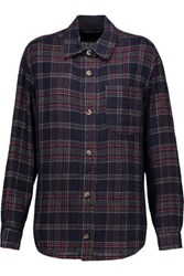 Isabel Marant Kenzie Checked Wool Blend Shirt Midnight Blue