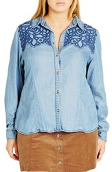 City Chic Plus Size Women's 'Rodeo' Embroidered Denim Shirt