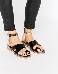 Asos Fly By Western Flat Sandals Black
