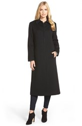 Petite Women's Fleurette Point Collar Long Cashmere Coat Black