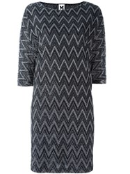 M Missoni Zigzag Knit Shift Dress Metallic