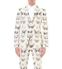 Alexander Mcqueen Moth Jacquard Wool And Cotton Blend Jacket Cream Black