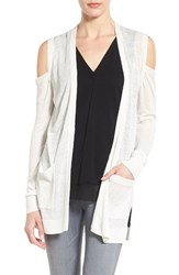 Trouve Women's Cold Shoulder Open Front Cardigan White Snow