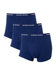 Bjorn Borg Men's 3 Pack Solid And Multi Trunk Blue