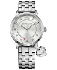 Juicy Couture Women's Socialite Stainless Steel Bracelet Watch With Charm 36Mm 1901474 White Sunr