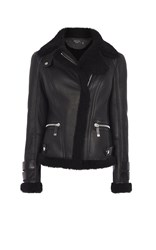 Karen Millen Shearling Flying Jacket Black