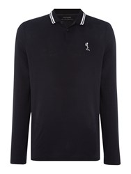Religion Men's Double Tip Collar Longsleeve Polo Black