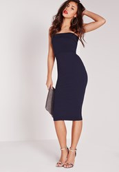 Missguided Layered Bandeau Midi Dress Navy Blue