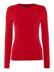 Gant Cotton Crew Neck Cable Jumper Red