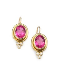 Temple St. Clair Classic Color Pink Tourmaline Diamond And 18K Yellow Gold Oval Drop Earrings