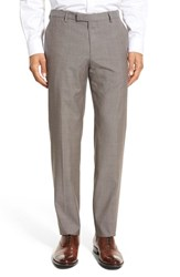 Boss Men's 'Leenon' Flat Front Houndstooth Wool Trousers Medium Beige