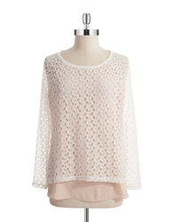 Casual Couture By Green Envelope Layered Knit Sweater Ivory