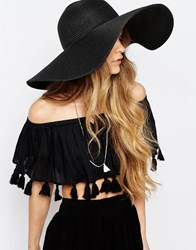 Pieces Straw Hat With Wide Brim In Black Black