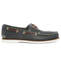 Timberland Navy Two Eye Leather Boat Shoes
