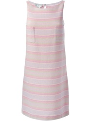 Chanel Vintage Striped Tweed Dress Pink And Purple