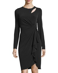 Catherine Catherine Malandrino Long Sleeve Cutout Faux Wrap Dress Black