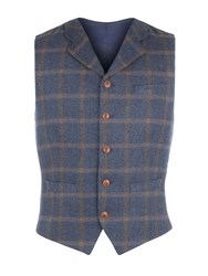 Gibson Men's Blue And Tan Check Vest Blue