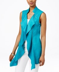 Inc International Concepts Linen Draped Vest Only At Macy's Teal Glow
