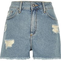 River Island Womens Light Blue Wash Ripped High Rise Denim Shorts