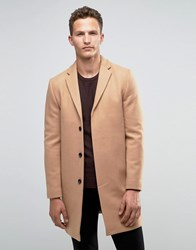 Selected Homme Overcoat In Cashmere Mix In Camel Camel Tan