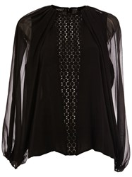Giambattista Valli See Through Long Sleeves Blouse Black