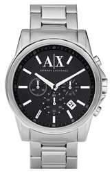 Armani Exchange Chronograph Bracelet Watch 45Mm Black Silver