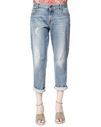 Stella Mccartney Tomboy Ripped Ankle Jeans Pale Blue