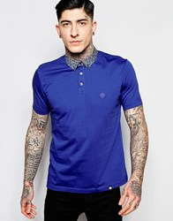 Pretty Green Polo Shirt With Floral Collar In Slim Fit Navy Navy