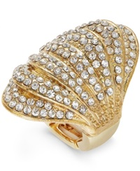 Inc International Concepts Gold Tone Crystal Pave Multi Row Dome Ring