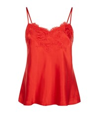 Marjolaine Lace Trim Silk Camisole Top Female Red