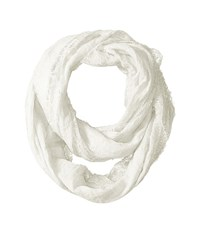Betsey Johnson Lace Border Infinity Loop White Scarves
