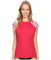 Carve Designs Belles Beach Rashguard Strawberry Women's Swimwear Red