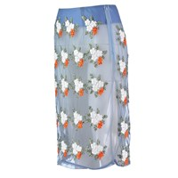 By Sun Sheer All Over Embroidered Pencil Skirt White