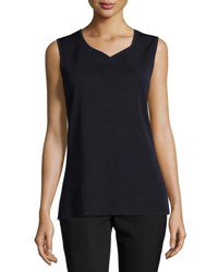 Ming Wang V Neck Knit Long Tank Nav