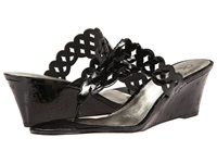 Adrianna Papell Cache Black Laquer Cork Women's Wedge Shoes