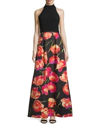 Theia Halter Neck Gown W Floral Print Skirt Black Poppy Women's