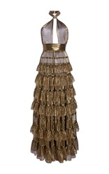 Elie Saab Tiered Flounced Halter Neck Maxi Dress Gold