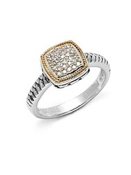 Effy Diamond In 18K Yellow Gold And Sterling Silver Square Ring