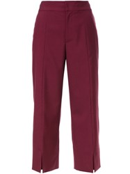 Le Ciel Bleu Cropped Straight Trousers Red