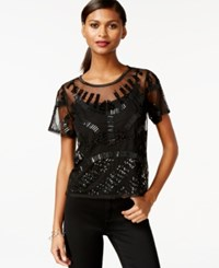 Bar Iii Short Sleeve Sheer Embellished Top Only At Macy's