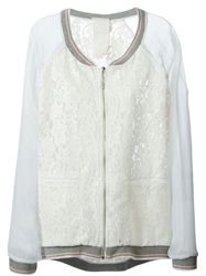 Luxury Fashion Sheer Sleeve Lace Bomber Jacket White
