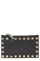 Valentino Women's 'Rockstud' Leather Coin Purse Card Case Black
