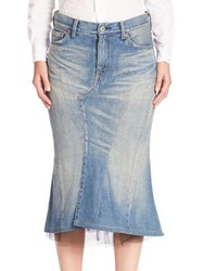 Junya Watanabe Tulle Back Bustle Denim Skirt