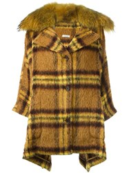P.A.R.O.S.H. Checked Mid Length Coat Yellow And Orange
